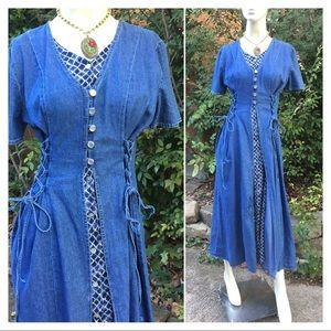 Vintage Denim Corset Style Fit n Flare Maxi Dress